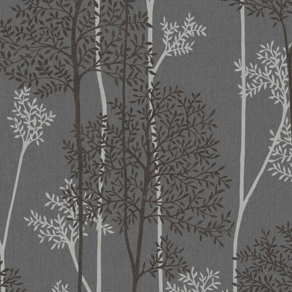 Graham Brown Charcoal And Silver Eternal Wallpaper