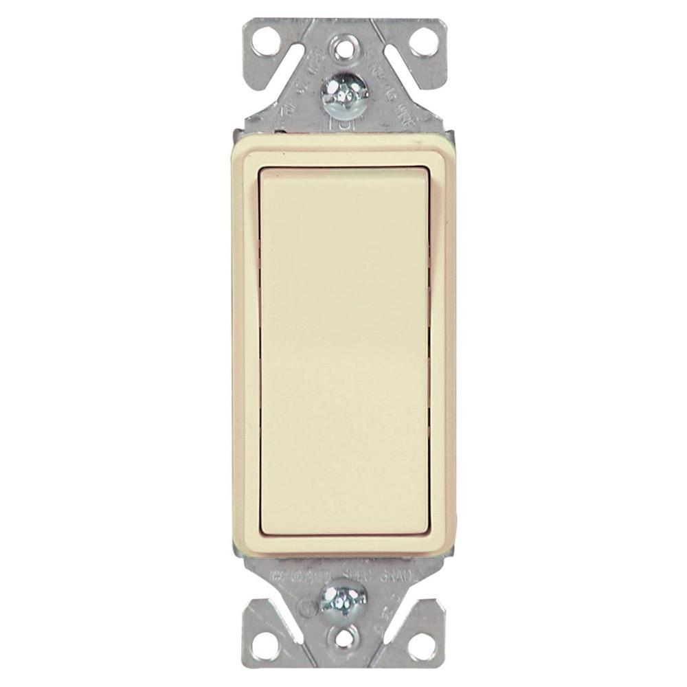 15 Amp 3-Way Lighted Decorator Switch in Almond