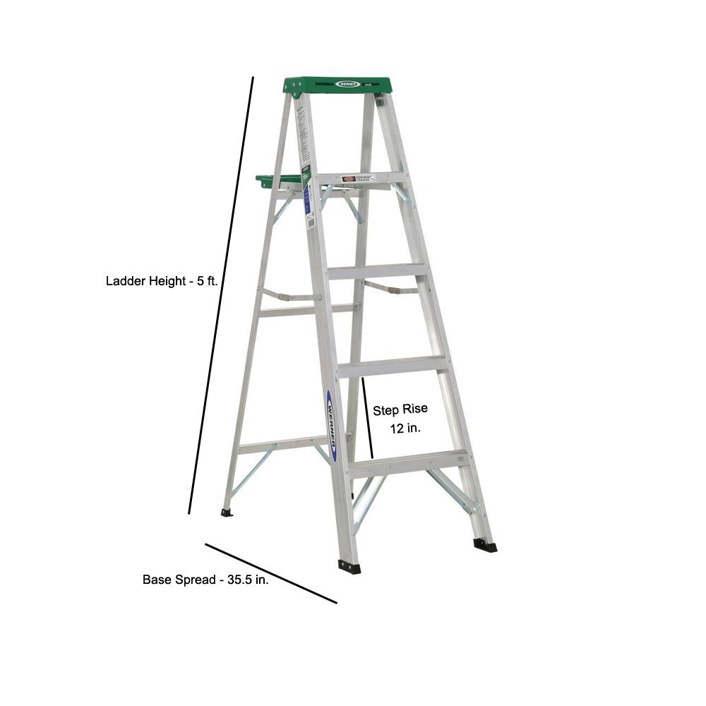 Werner 5 Ft Aluminum Step Ladder With 225 Lb Load Capacity Type Ii Duty Rating 355 The Home Depot
