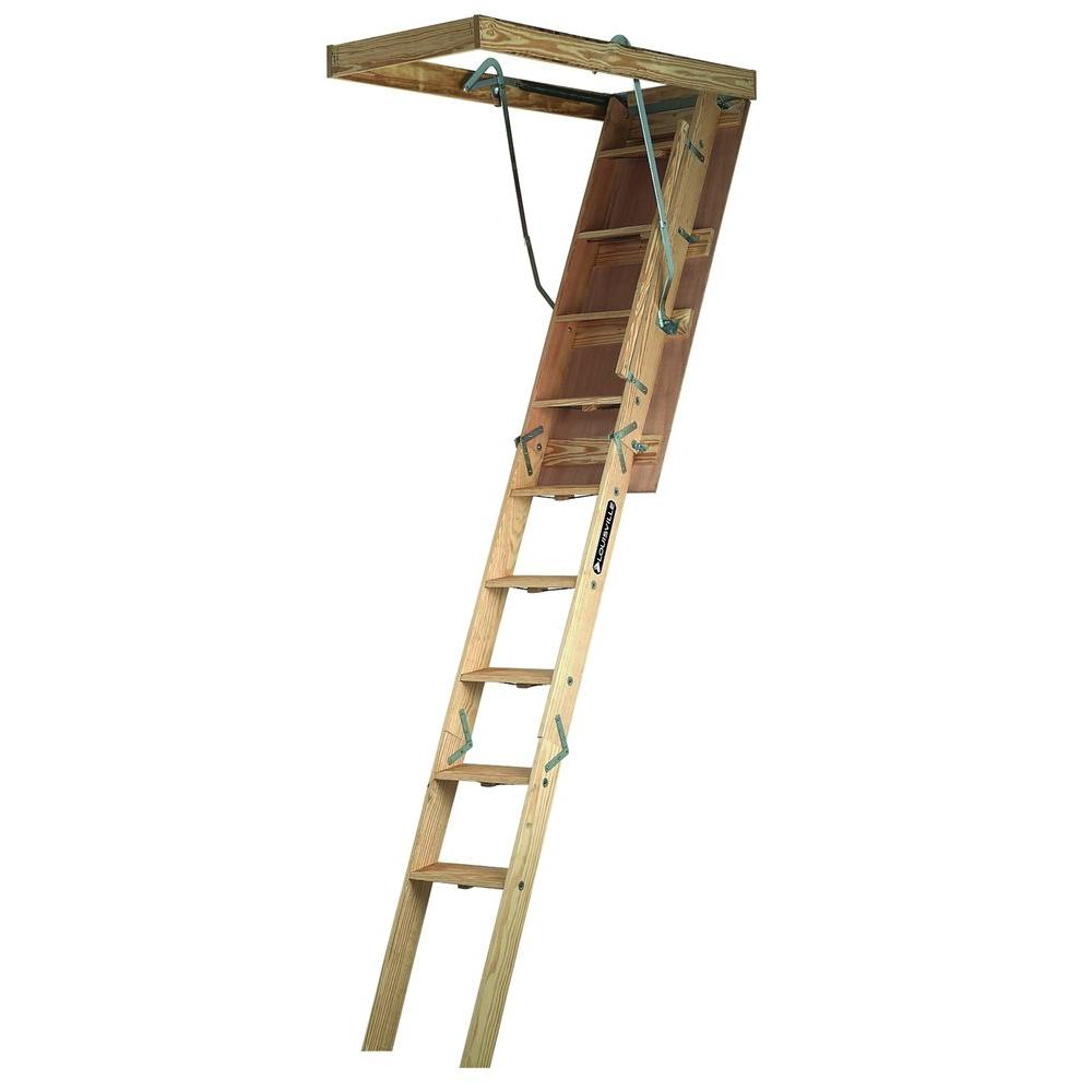 Louisville Ladder Champion Series 7 Ft 8 Ft 9 In 22 5 In X 54 In Wood Attic Ladder With 300 Lbs Maximum Load Capacity Cs224p The Home Depot