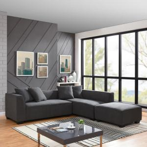 Handy Living Phoenix Sectional Sofa with Ottoman in Dark ...