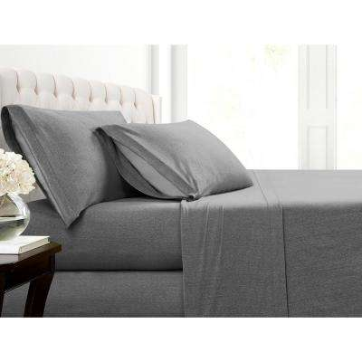 Heather Charcoal Jersey King Sheet Set