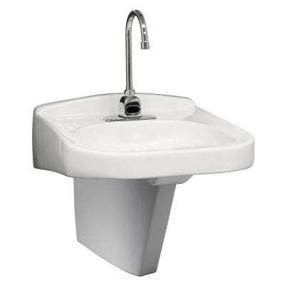 20 in. x 23 in. Wall Hung ADA Vessel Sink with Half Pedestal in White