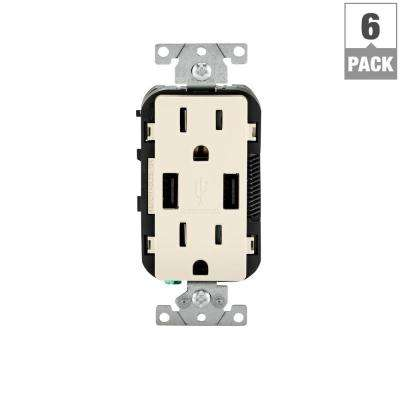 15 Amp Decora Combination Tamper Resistant Duplex Outlet and USB Charger, Light Almond (6-Pack)