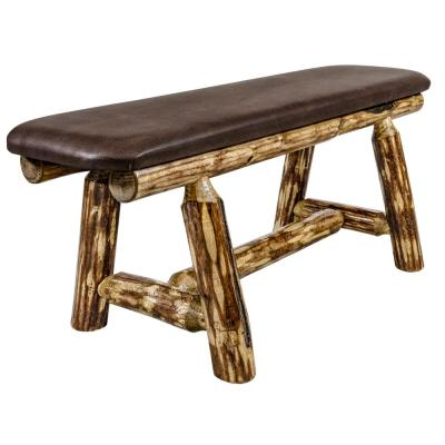Glacier Country Collection 18 in. H Brown Wooden Bench with Saddle Upholstered Seat, 45 in. Length