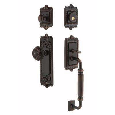 Egg and Dart Plate 2-3/8 in. Backset Timeless Bronze F Grip Entry Set Egg and Dart Knob