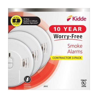 10-Year Worry Free Sealed Battery Smoke Detector with Ionization Sensor (3-Pack)