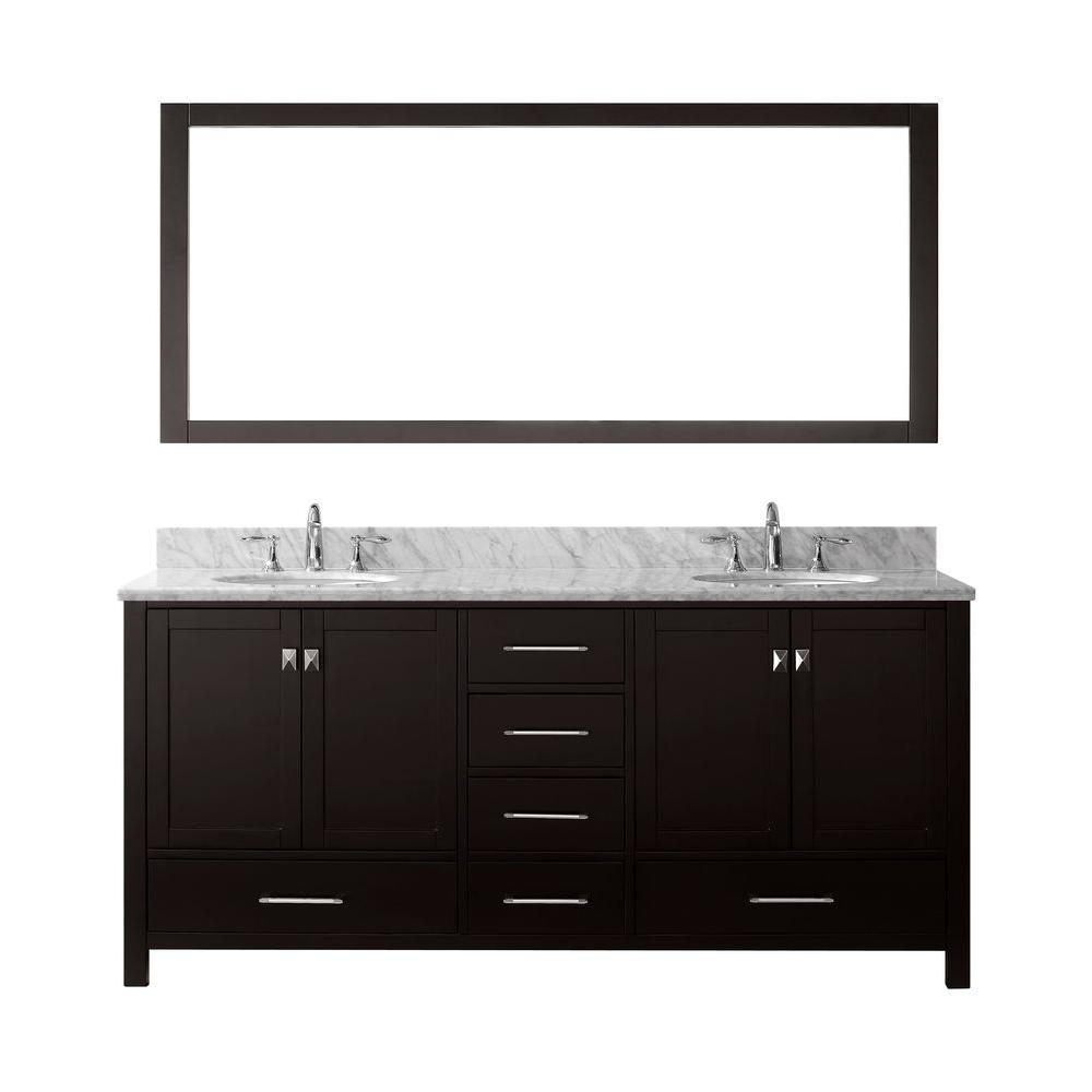 Virtu USA Caroline Avenue 72 in. W Bath Vanity in Espresso with Marble Vanity Top in White with Round Basin and Mirror