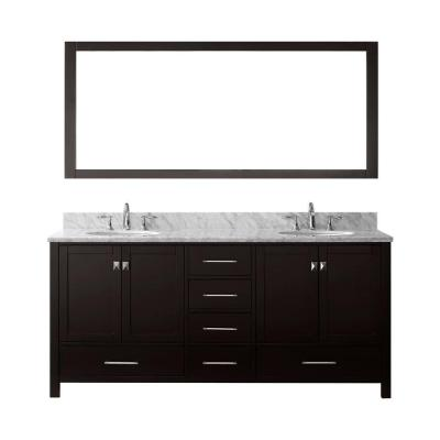 Caroline Avenue 72 in. W Bath Vanity in Espresso with Marble Vanity Top in White with Round Basin and Mirror