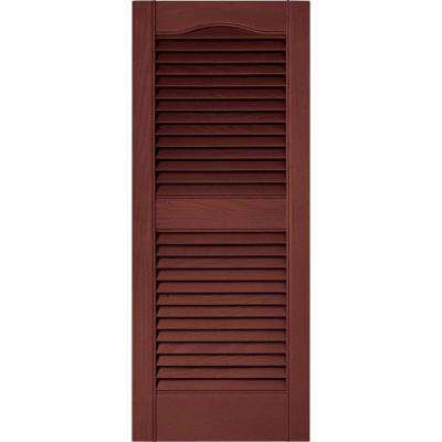 15 in. x 36 in. Louvered Vinyl Exterior Shutters Pair in #027 Burgundy Red