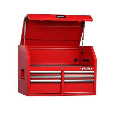 36 in. W 24.2 in. D 6-Drawer Top Chest in Red
