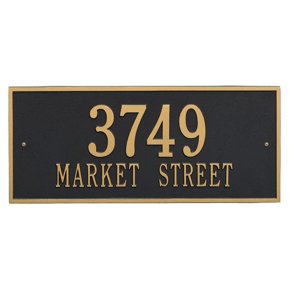 Hartford Rectangular Black/Gold Estate Wall 2-Line Address Plaque