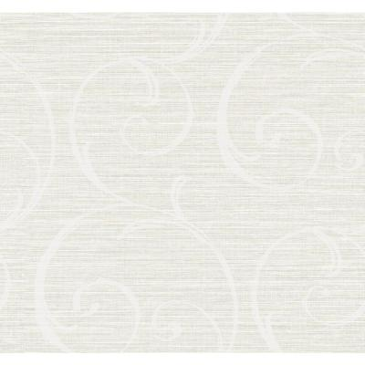 Notting Hill Metallic Pearl and Off-White Scroll Wallpaper
