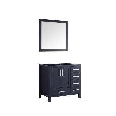 Jacques 36 in. Single Vanity No Top and 34 in. Mirror Right in Navy Blue