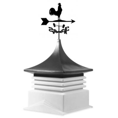 22 in. x 22 in. White Base and Dark Grey Top Poly Cupola with Rooster Weathervane