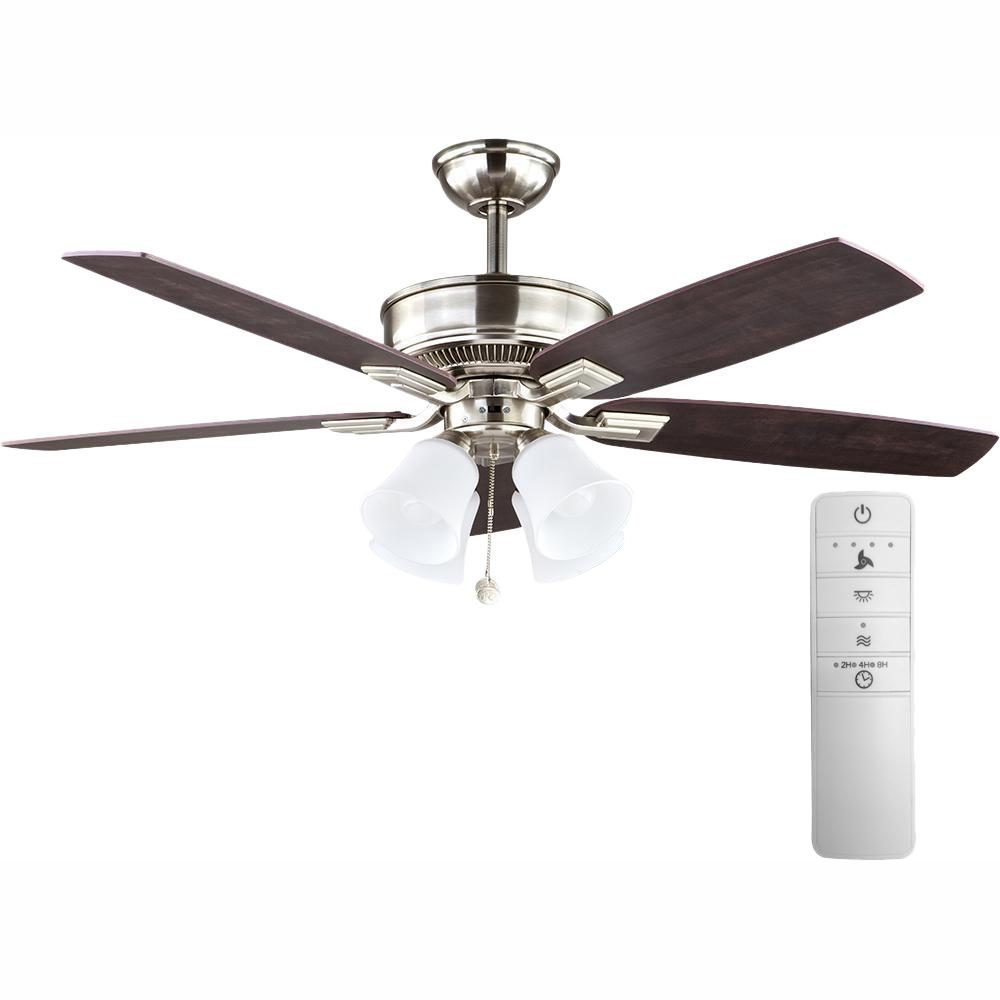 Hampton Bay Devron 52 in. LED Indoor Brushed Nickel Smart Ceiling Fan with Light Kit and WINK Remote Control