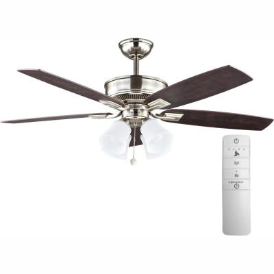 Devron 52 in. LED Indoor Brushed Nickel Smart Ceiling Fan with Light Kit and WINK Remote Control