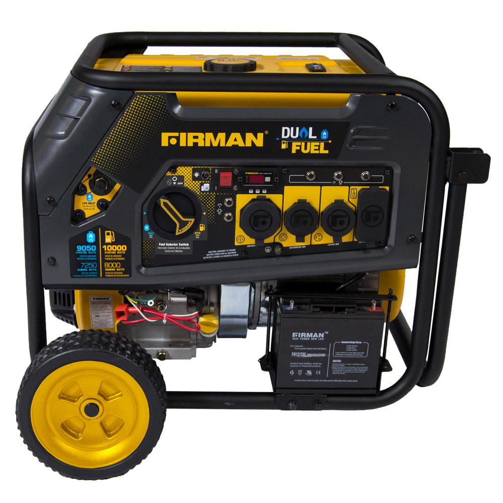 Hybrid 8,000-Watt Dual Fuel Powered Electric Start Portable Generator with