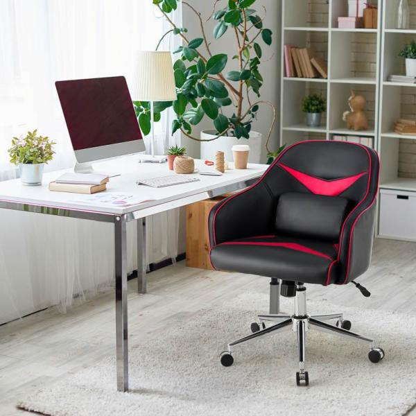 Unbranded Red Adjustable Height Swivel Office Chair With Massage Lumbar Support Hw63924re The Home Depot