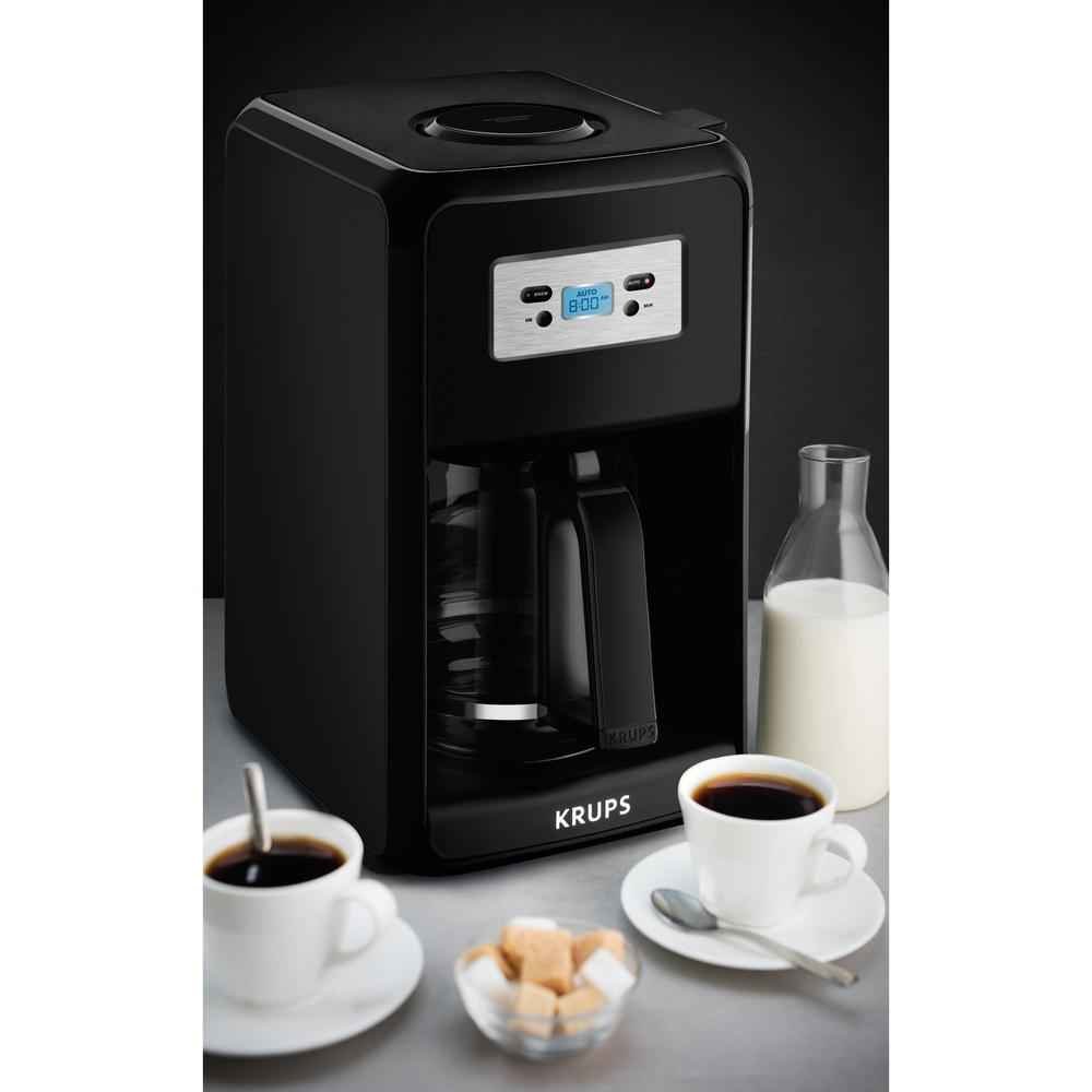 Krups Savoy 12-Cup Pause and Serve Coffee Maker, Black