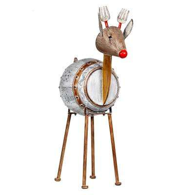 33 in. Metallic Barrelled Reindeer Decor with Warm White LED Lights