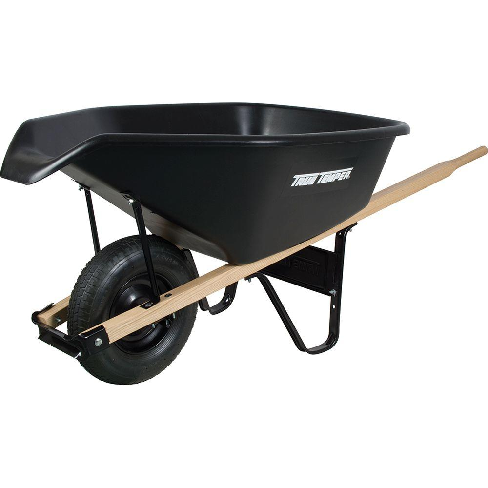 True Temper 6 Cu. Ft. EZ Pour Poly Wheelbarrow