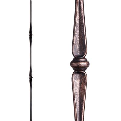 Round 44 in. x 0.625 in. Oil Rubbed Bronze Double Knuckle Hollow Wrought Iron Baluster