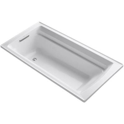 Archer VibrAcoustic 6 ft. Rectangular Drop-in Reversible Drain Bathtub in White with Bask Heated Surface