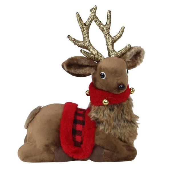 10.5 in. Sitting Reindeer with Buffalo Plaid Saddle Christmas Figure