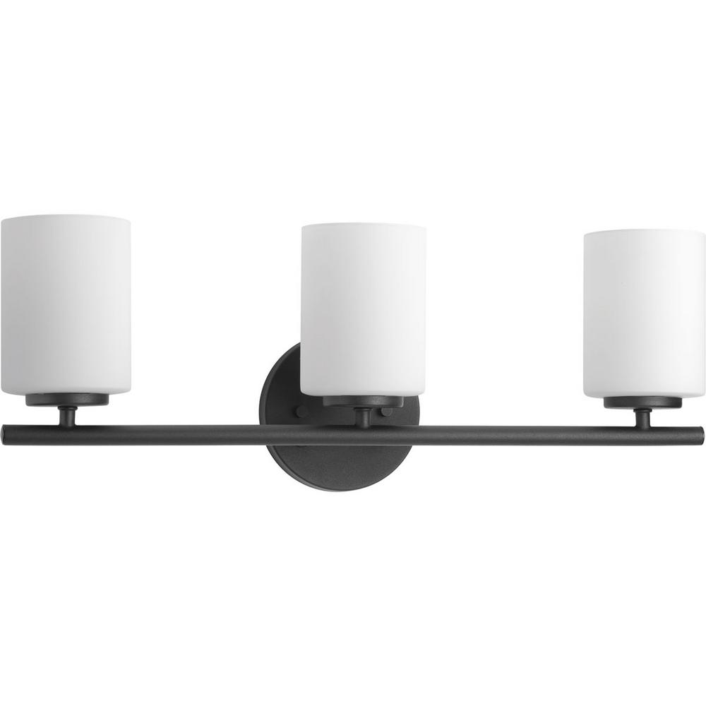 Progress Lighting Replay 22 in. 3-Light Black Bathroom Vanity Light with Glass Shades