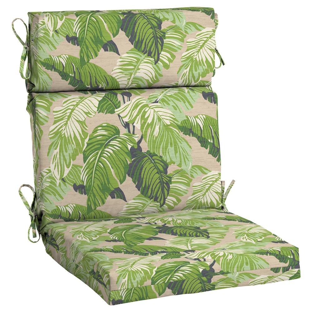 Hampton Bay 21.5 X 20 Outdoor Dining Chair Cushion In Olefin Fern Tropical