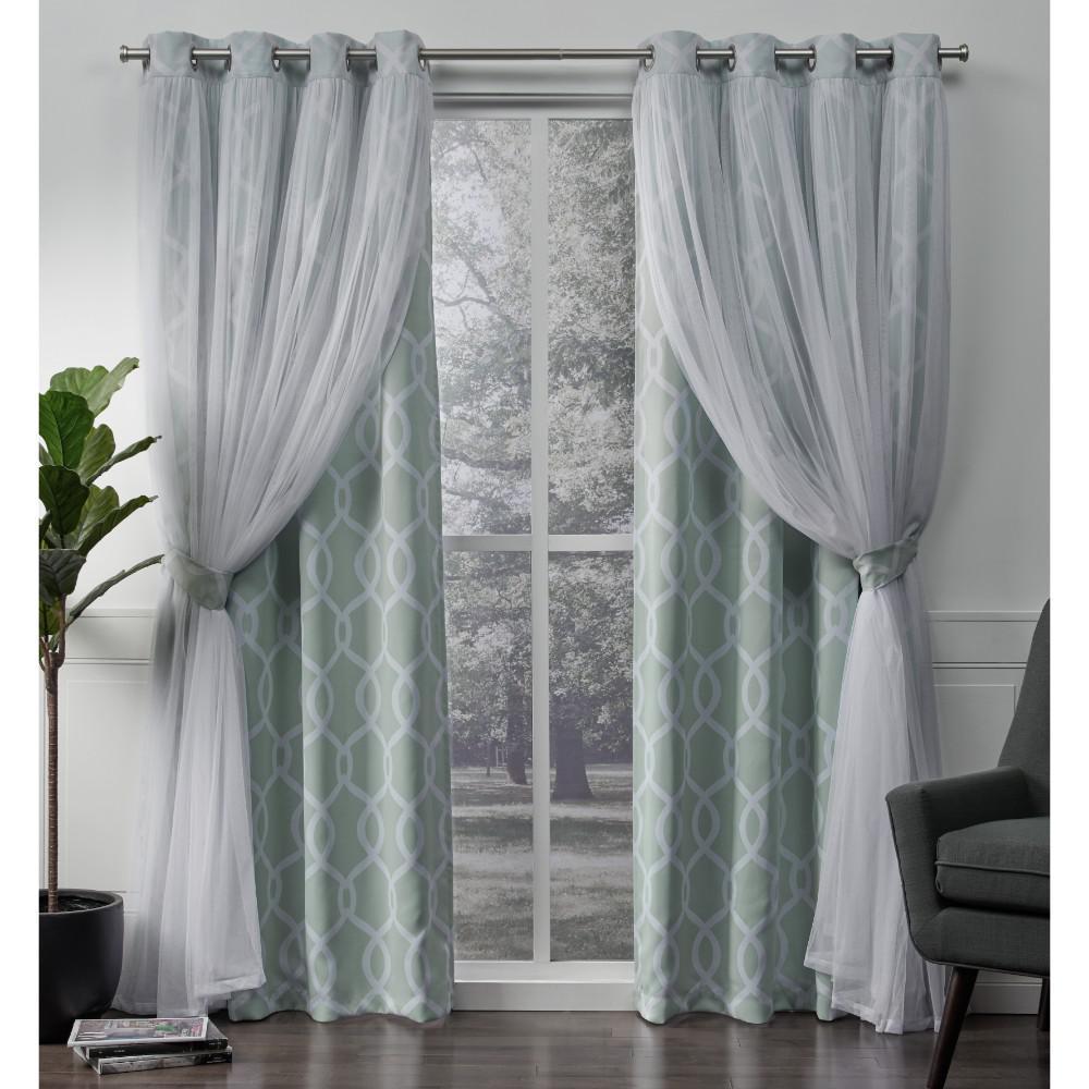 geometric blackout curtains retro carmela aqua layered geometric blackout and sheer grommet top window curtain