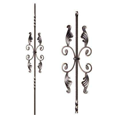 Twist and Basket 44 in. x 0.5 in. Oil Rubbed Bronze Double Twist Single Butterfly Solid Wrought Iron Baluster