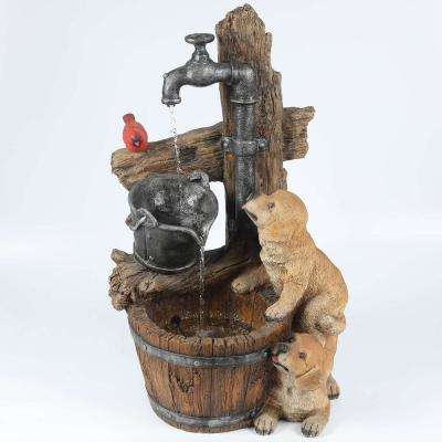 Resin Puppies and Water Pump Outdoor Patio Cascade Fountain with LED Light