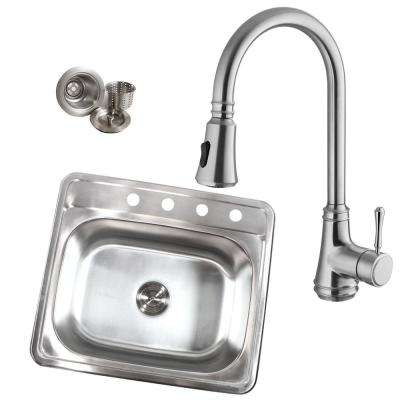 Topmount Drop-In Stainless Steel 25 in. x 22 in. x 9 in. 18-Gauge 4-Hole Single Bowl Kitchen Sink with Faucet