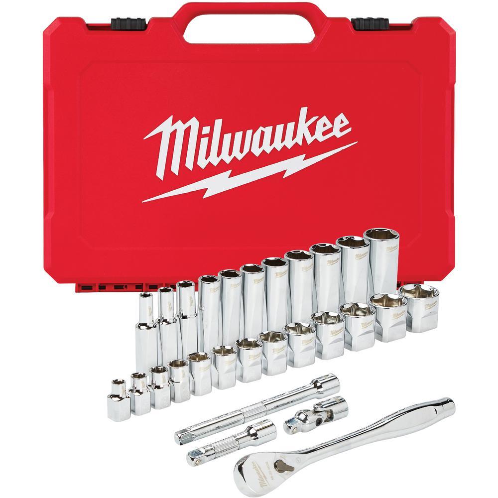 Milwaukee 3/8 in. Drive SAE Ratchet and Socket Mechanics Tool Set (28-Piece)