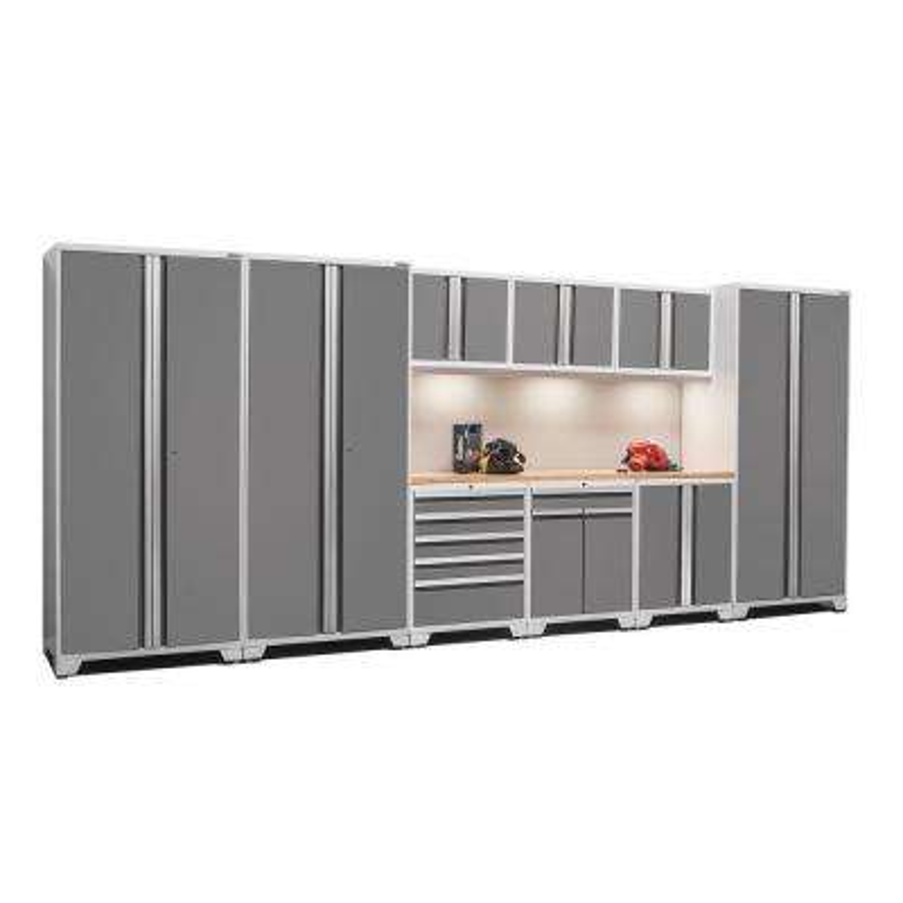Pro 3 Series 85 in. H x 192 in. W x 24 in. D 18-Gauge Welded Steel Bamboo Worktop Cabinet Set inPlatinum(10-Piece)