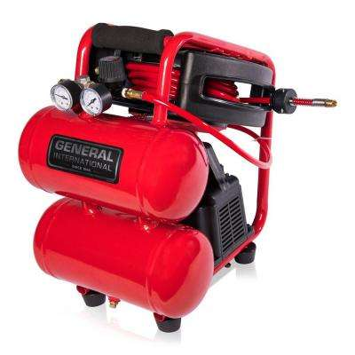 2 Gal. 1/3 HP Portable Electric Twin Stack Air Compressor with 25 ft. Auto Rewind Hose Reel