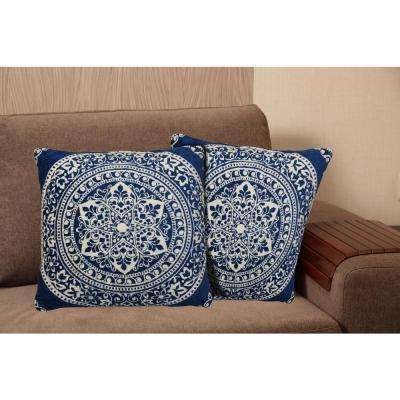 Chenille 20 in. Blue Decorative Pillow
