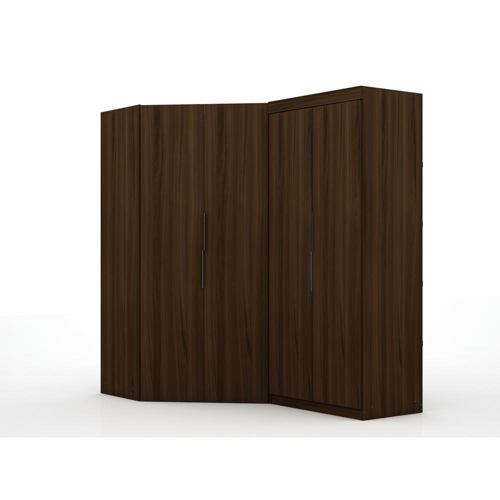 Ramsey 3.0 Brown Sectional Corner Wardrobe Closet (Set of 2)