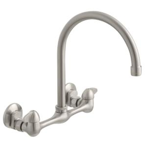 Builders 2-Handle Wall Mount High-Arc Standard Kitchen Faucet in Stainless Steel