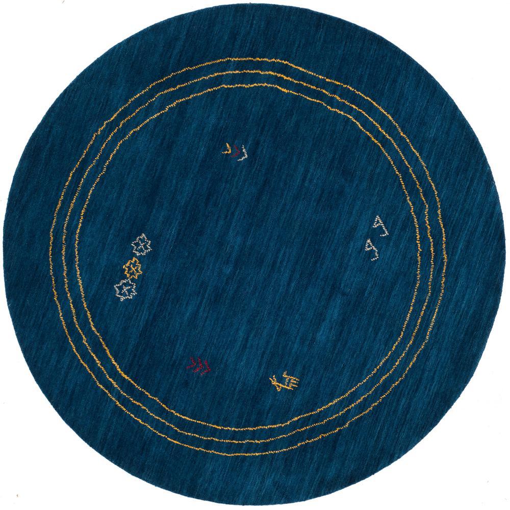Himalaya Blue/Multi 6 ft. x 6 ft. Round Area Rug