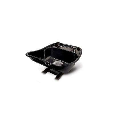 Pivoting 18 in. W x 10 in. D Enamel Shampoo Sink with 522 Fixture, Spray, Strainer and Bracket in Black