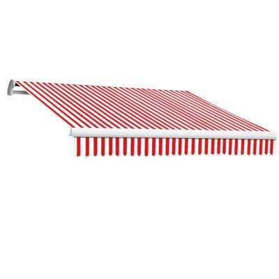 16 ft. Maui-LX Right Motor Retractable Acrylic Awning with Remote (120 in. Projection) in Red/White