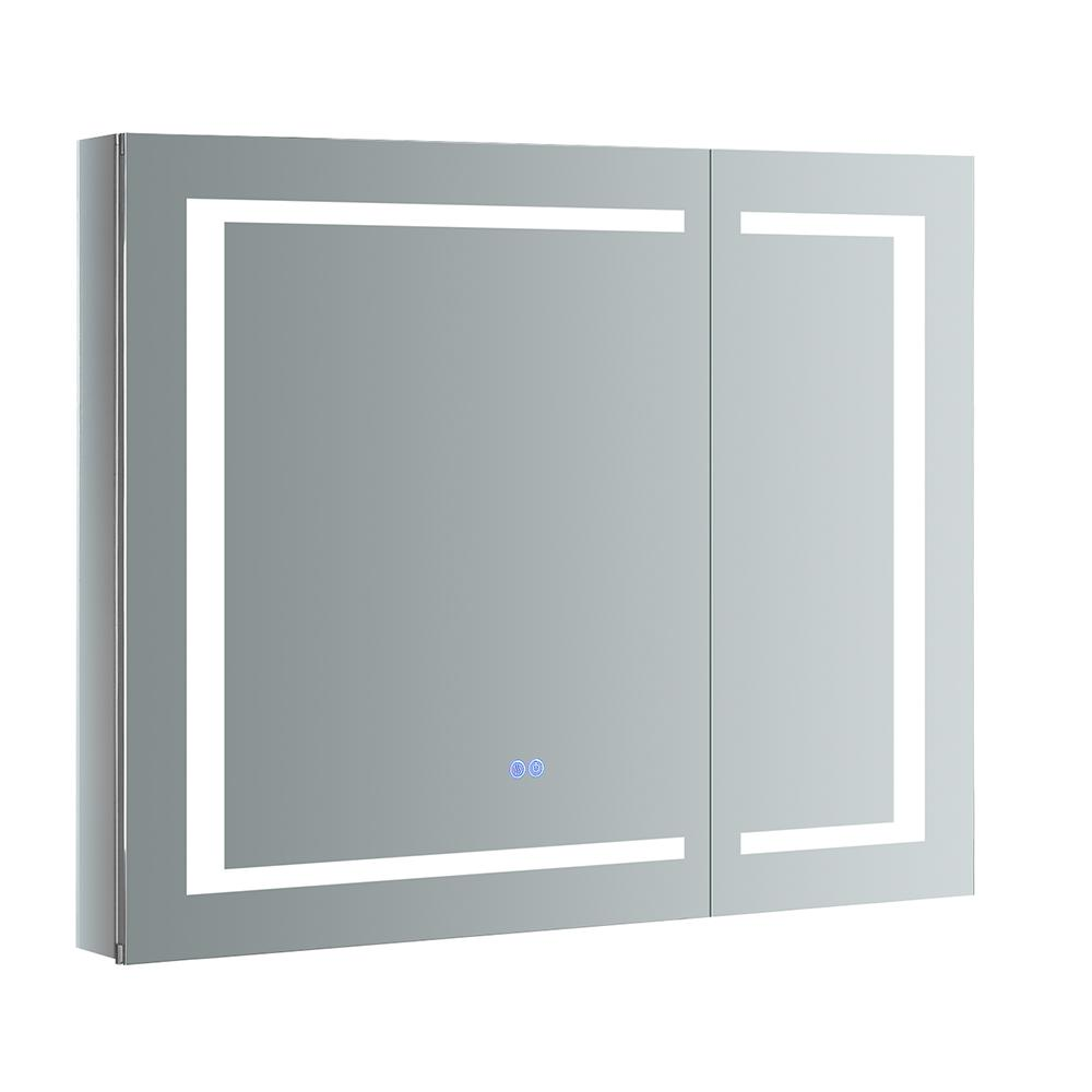 Spazio 36 in. W x 30 in. H Recessed or Surface Mount Medicine Cabinet with LED Lighting and Mirror Defogger