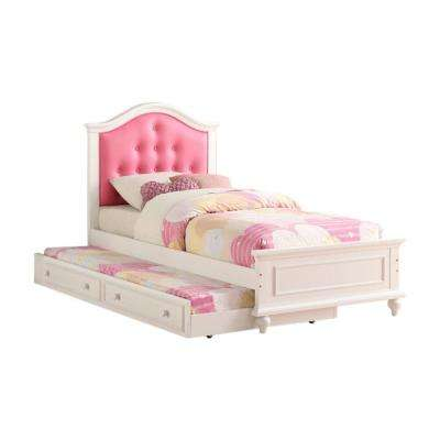 Trundle in Pink and White Twin Size Cherub Style Bed