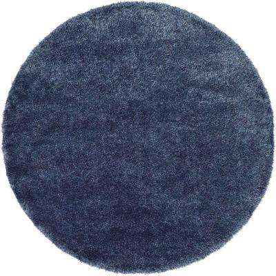 luxe solo navy blue 6 ft x 6 ft round area rug
