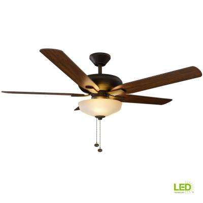 Holly Springs 52 in. LED Indoor Oil-Rubbed Bronze Ceiling Fan with Light Kit