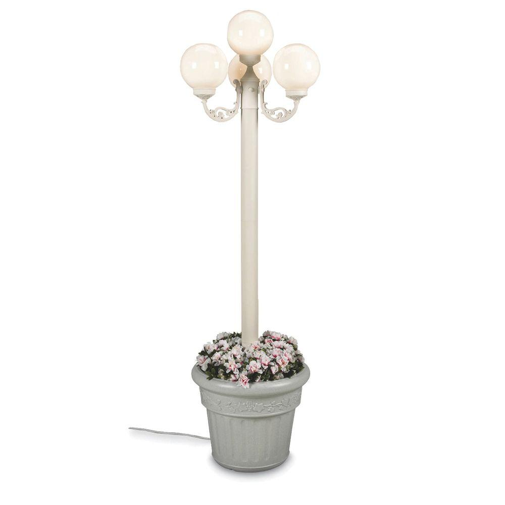 Patio Living Concepts European Park Style Four White Globe Plug-In Outdoor White Lantern with Planter