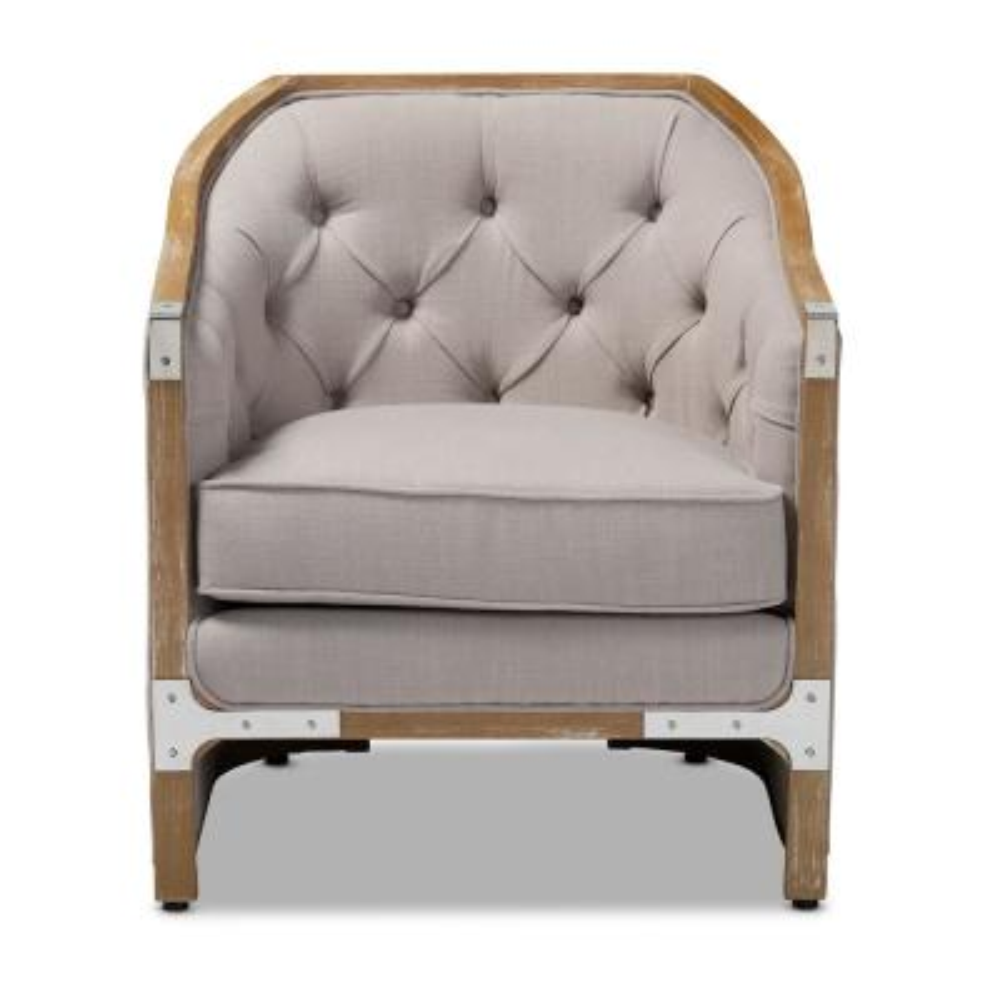 Terina Beige and Oak Fabric Armchair